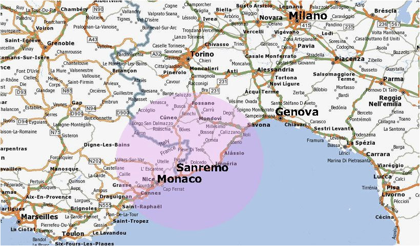 Map Of San Remo Italy San Remo Italy Map Location Of San Remo Italy