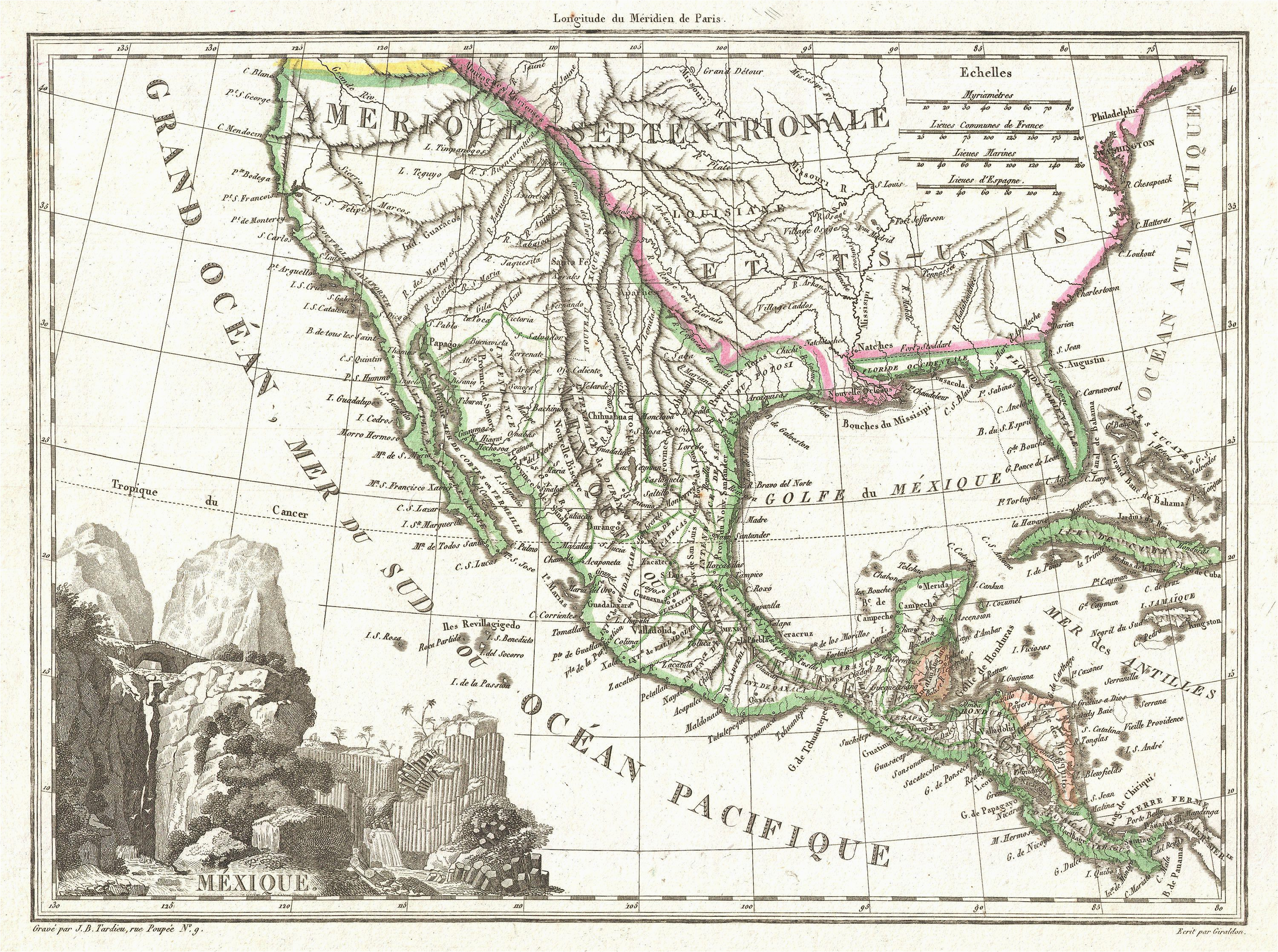 Map Of Texas Mountains File 1810 Tardieu Map Of Mexico Texas and California Geographicus