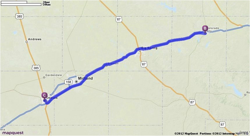Map Of Texas Odessa Driving Directions From Odessa Texas to Odessa Texas Mapquest