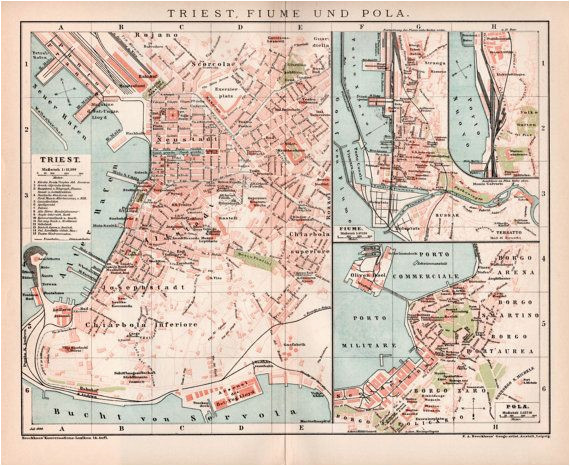 Map Of Trieste Italy 1898 Trieste Fiume and Pula Seaport Old Map Antique by Craftissimo