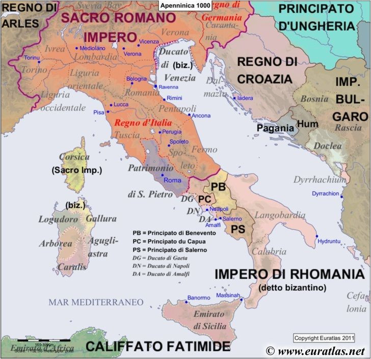 Maps Of Ancient Italy Map Of the Apennine Peninsula In the Year 1000 World