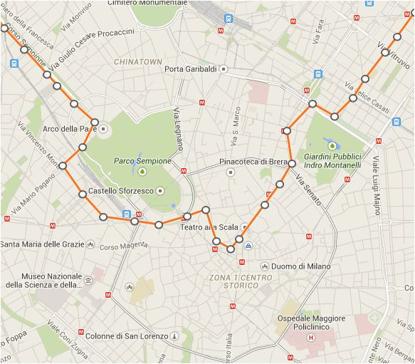 Milan In Italy Map This is A Map Of Milan S Linea 1 Tram Line which Stops Directly