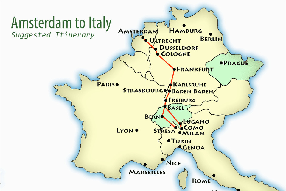 Northern Italy Road Map Amsterdam to northern Italy Suggested Itinerary