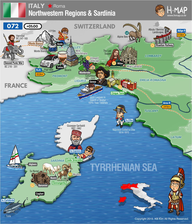 Northwest Italy Map Italy northwestern Regions Map Sardinia Map Illustration Travel