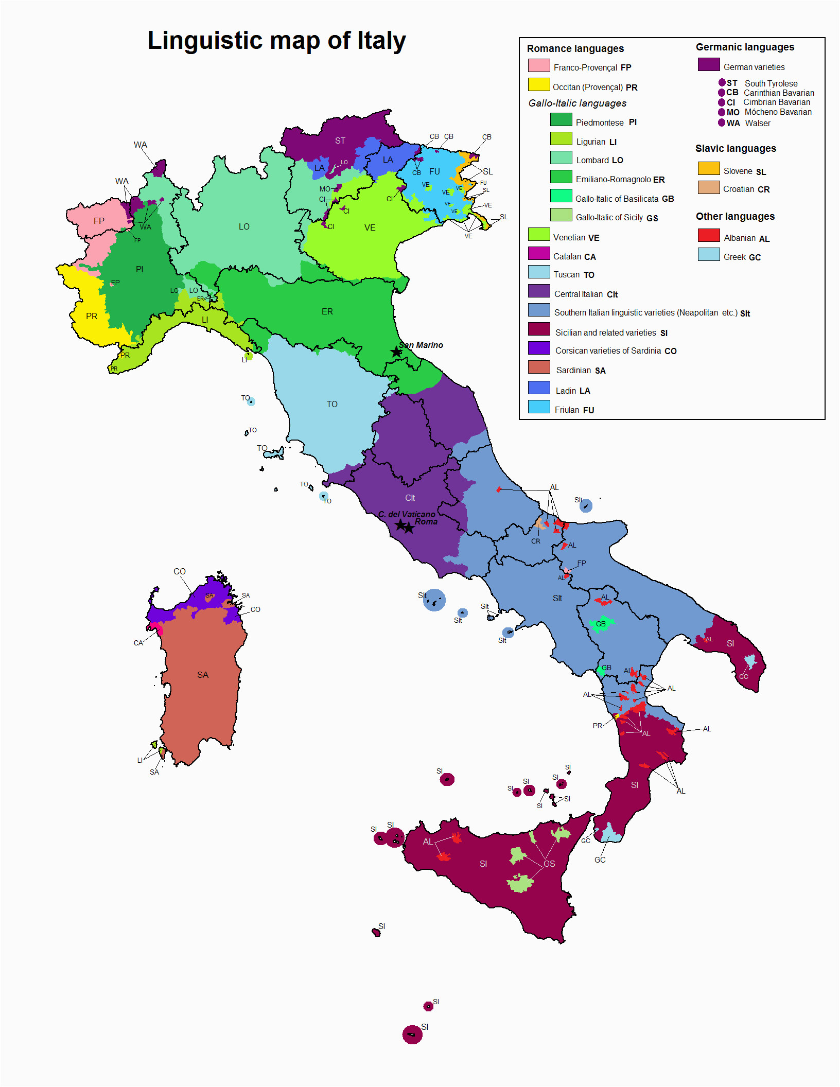 Road Map Of Italy In English Linguistic Map Of Italy Maps Italy Map Map Of Italy Regions
