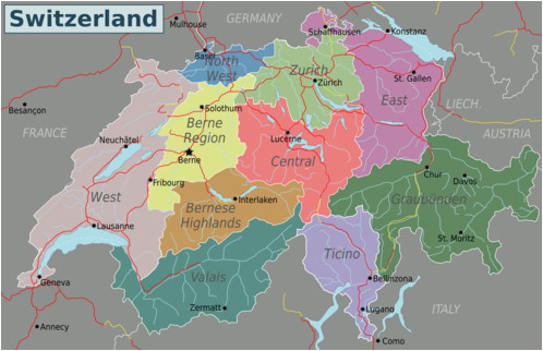 Road Map Of Switzerland and Italy Switzerland Travel Guide at Wikivoyage
