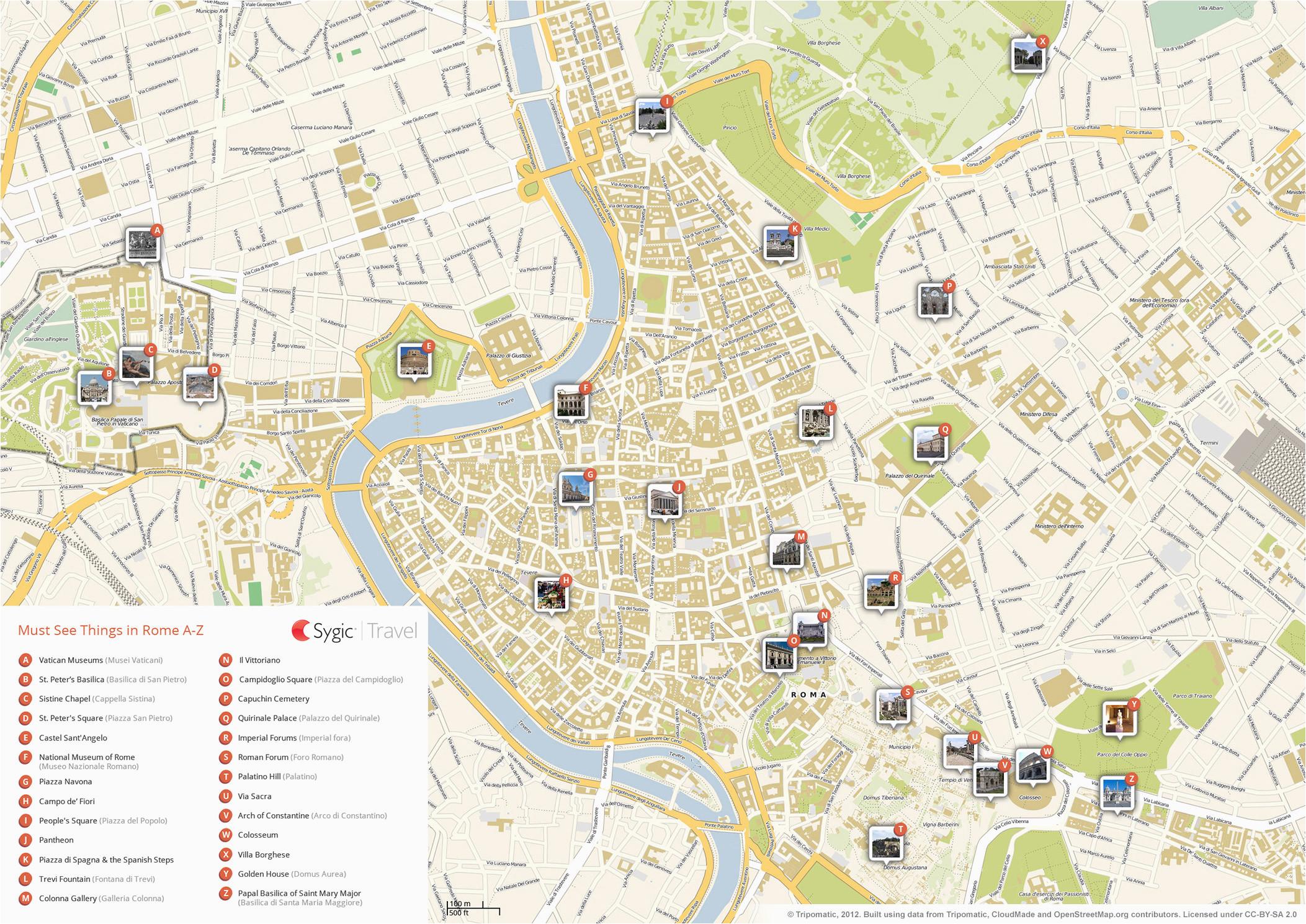 Street Map Of Rome Italy Printable Rome Printable tourist Map Sygic Travel
