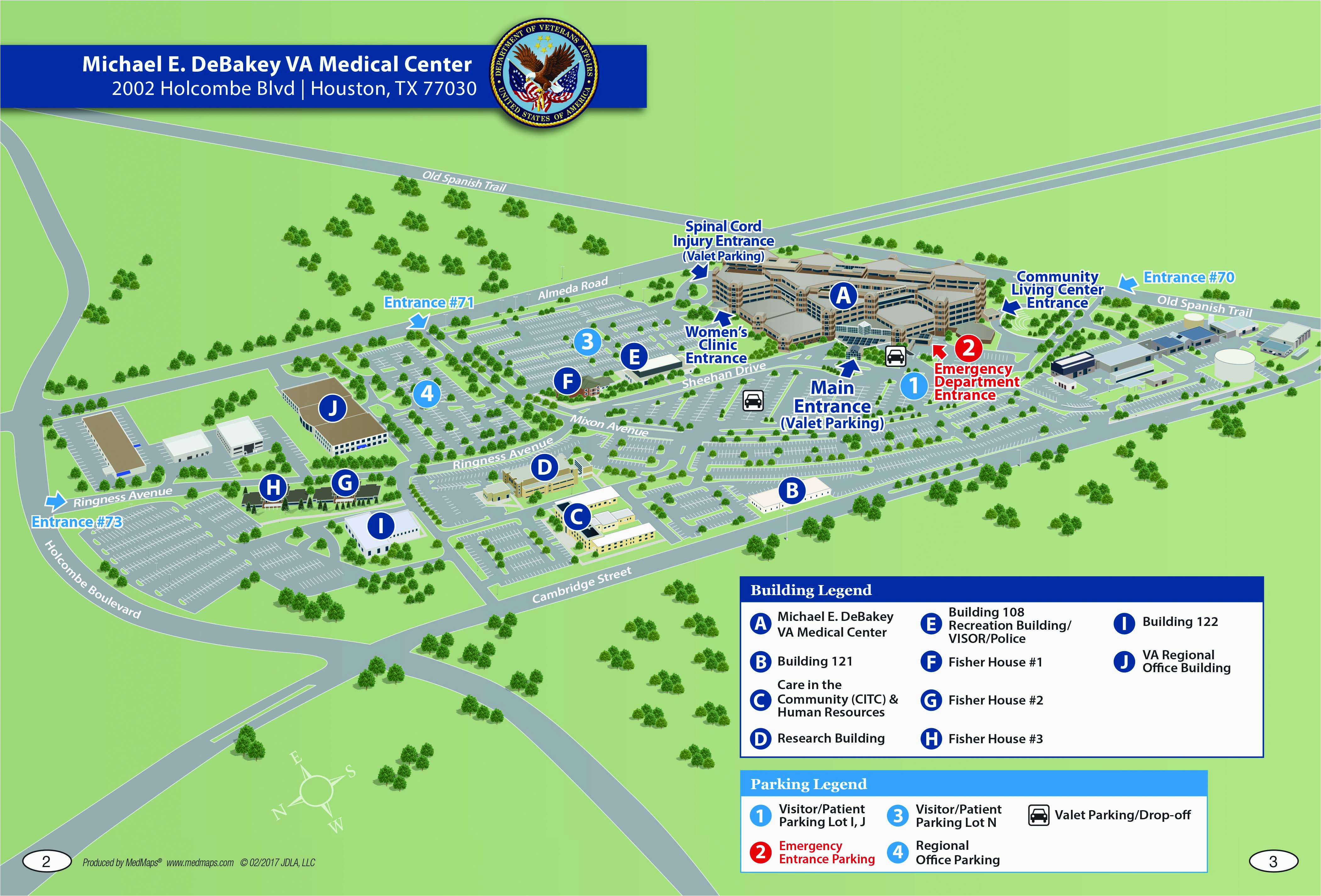 Texas Medical Center Map Michael E Debakey Va Medical Center Houston Texas