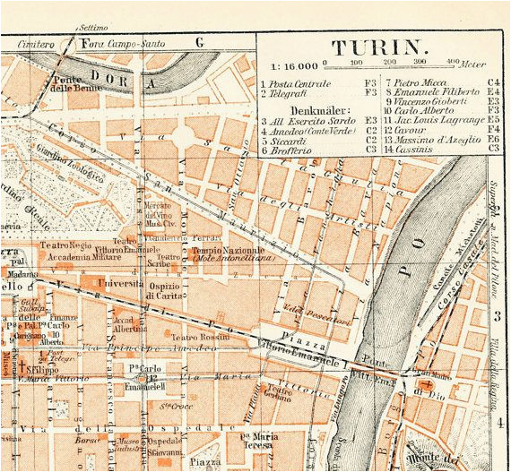 Vincenzo Italy Map Turin torino Italy City Map 19th Century Map Antique 1890s
