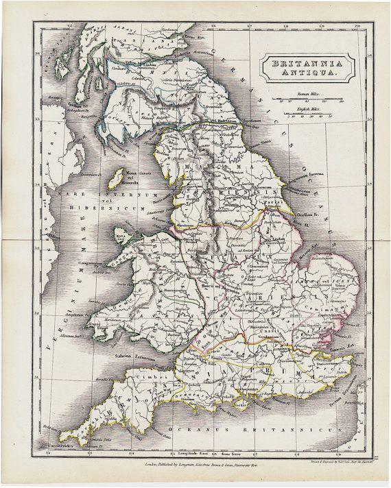 Ancient England Map 1825 Antique Map Of Ancient Great Britain original Antique