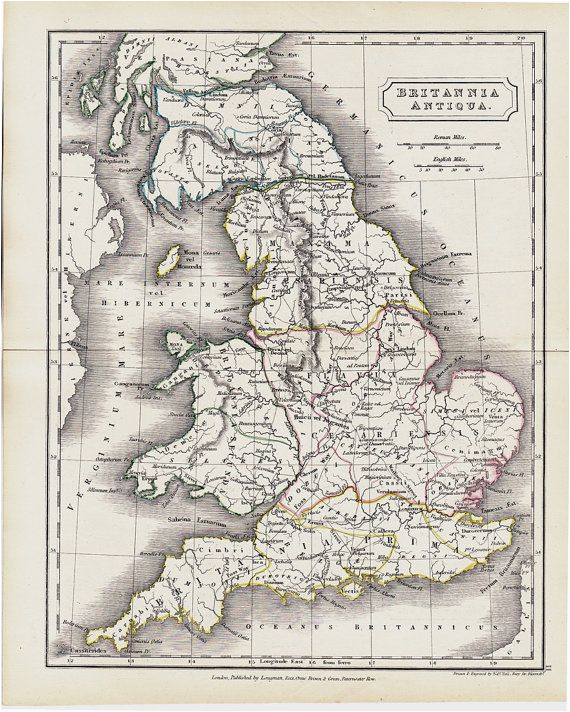Ancient Map Of England 1825 Antique Map Of Ancient Great Britain original Antique Map