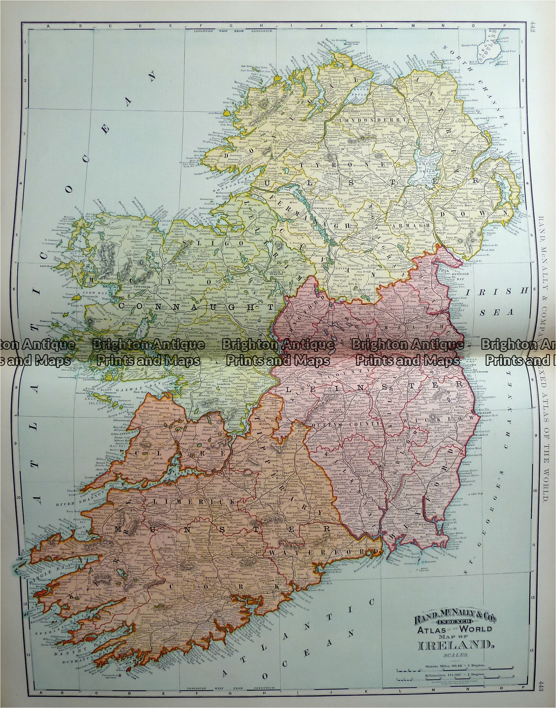 Antique Maps Of Ireland for Sale Antique Map 233 222 Ireland by Rand Mcnally C 1894 Brighton Antique Prints and Maps Shop Buy now