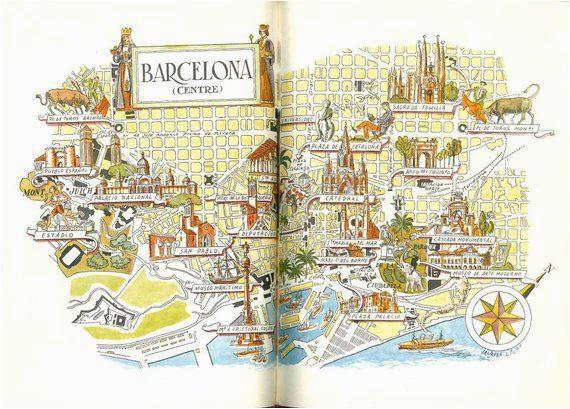 Barcelona Spain Map Google Barcelona Map Print Vintage City Of Barcelona Spain Map World