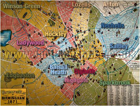 Birmingham On Map Of England Birmingham History Information Photographs Genealogy