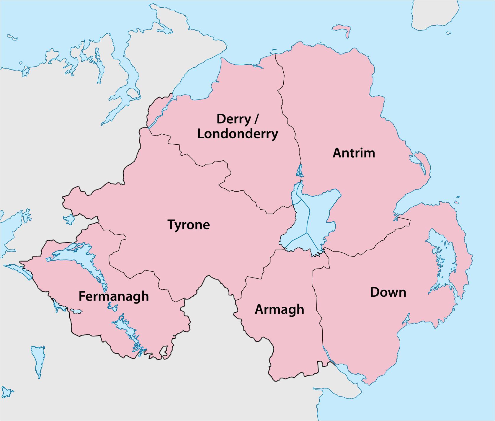 County Map northern Ireland Counties Of northern Ireland Wikipedia