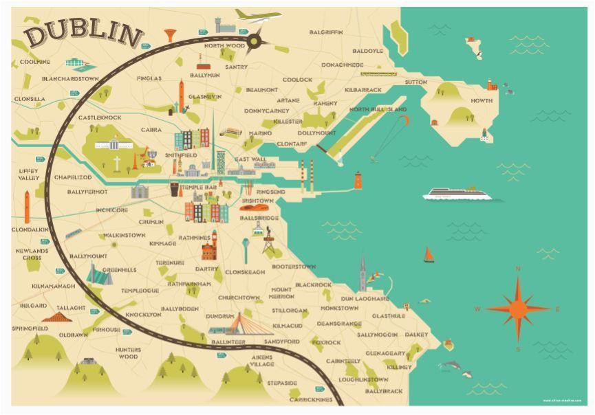 Dart Ireland Map Illustrated Map Of Dublin Ireland Travel Art Europe by