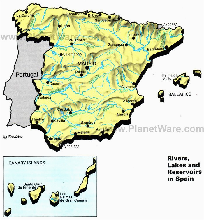 Detail Map Of Spain Rivers Lakes and Resevoirs In Spain Map 2013 General Reference