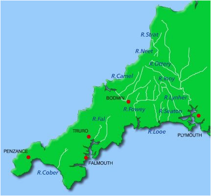 Falmouth England Map Rivers Cornwall Map A A A N Cornwall Maps Cornwall Map