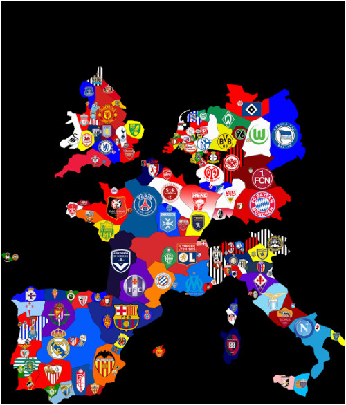 Football Teams In England Map Map Of top Division Football Clubs In Major European Leagues