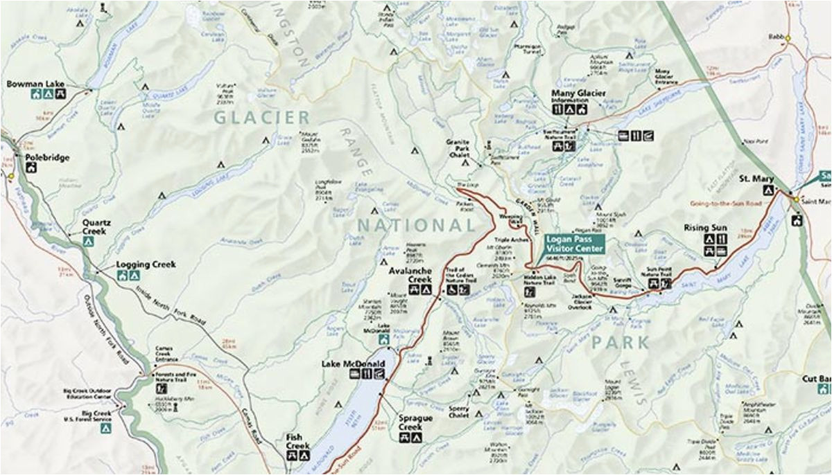 Glacier National Park Canada Map Map Of Glacier National Park and Surrounding towns Free