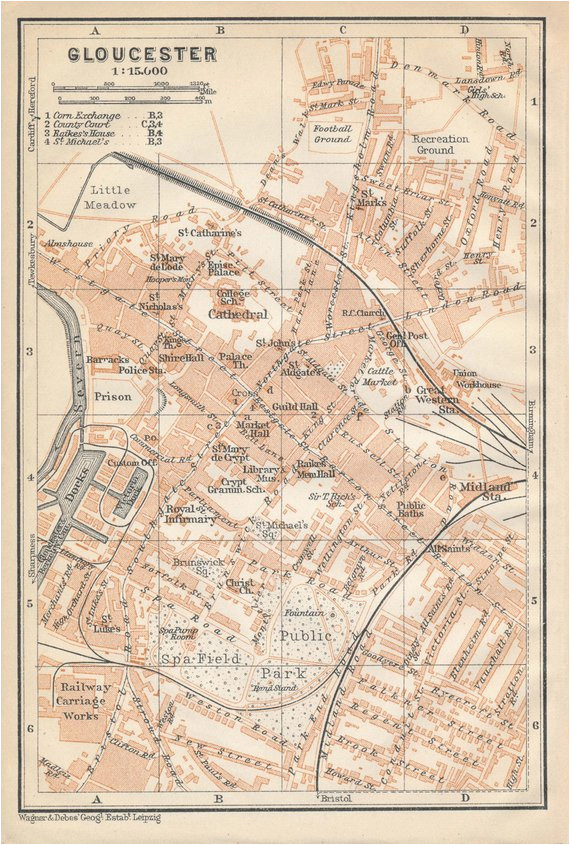 Gloucester England Map 1910 Gloucester United Kingdom Great Britain Antique Map