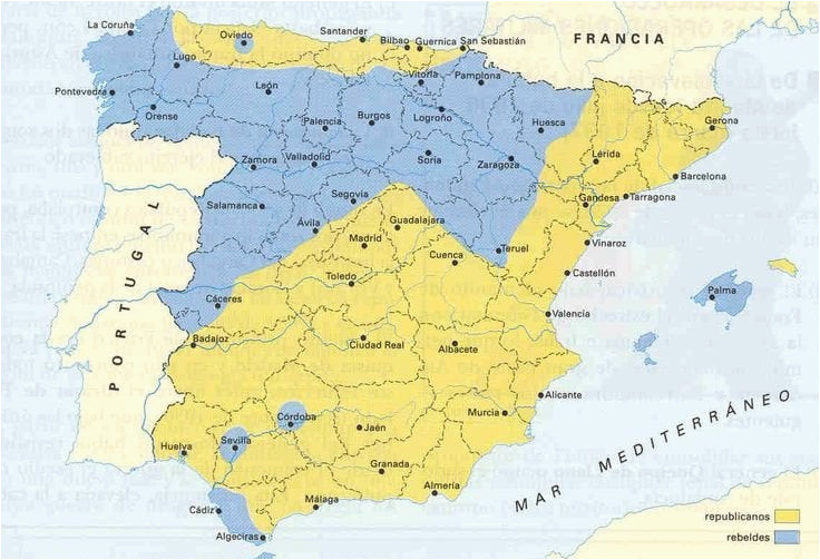 Guernica Spain Map Territories Controlled by the Two Sides at the Start Of the Spanish