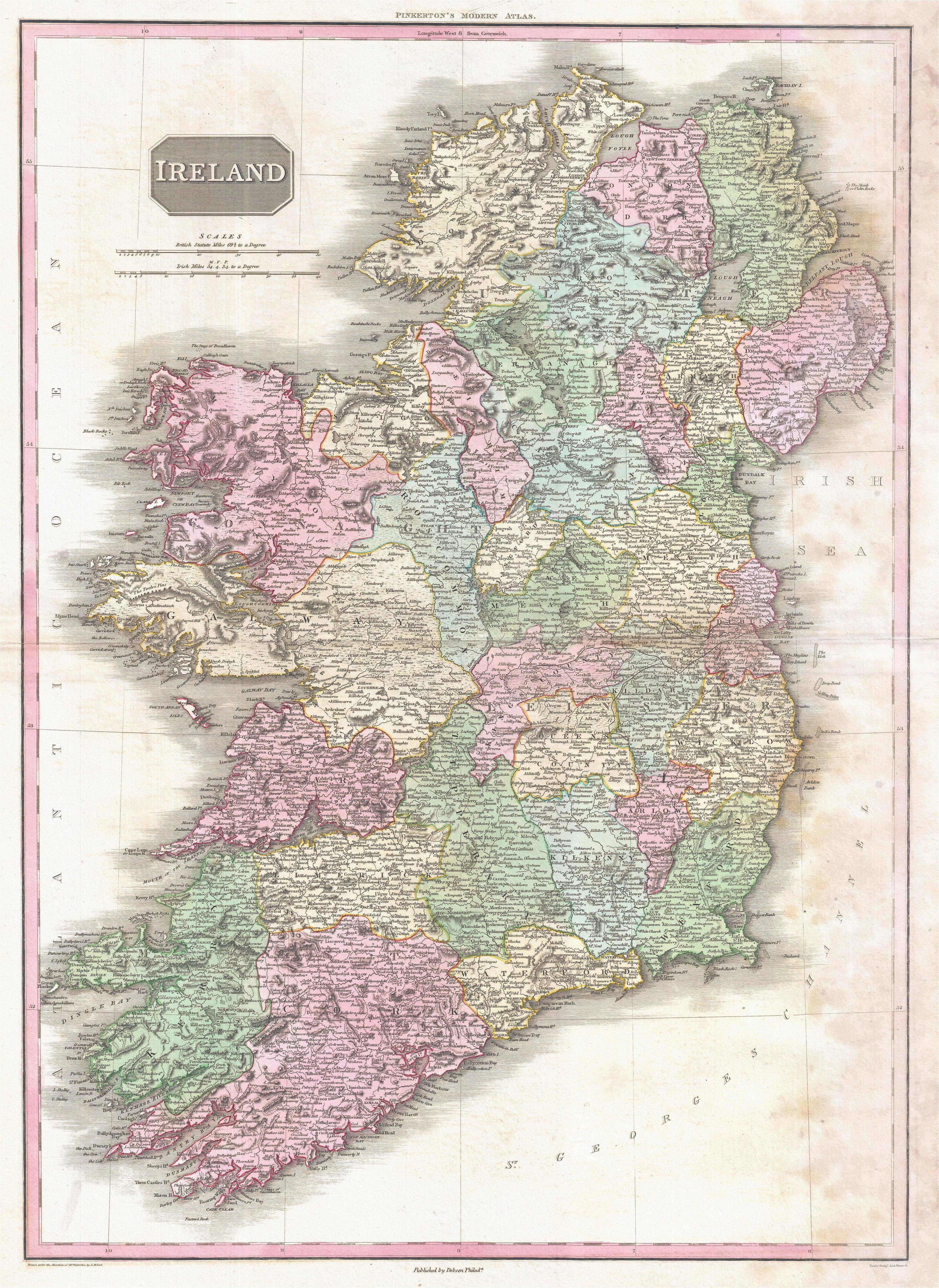 Historical Maps Ireland File 1818 Pinkerton Map Of Ireland Geographicus Ireland