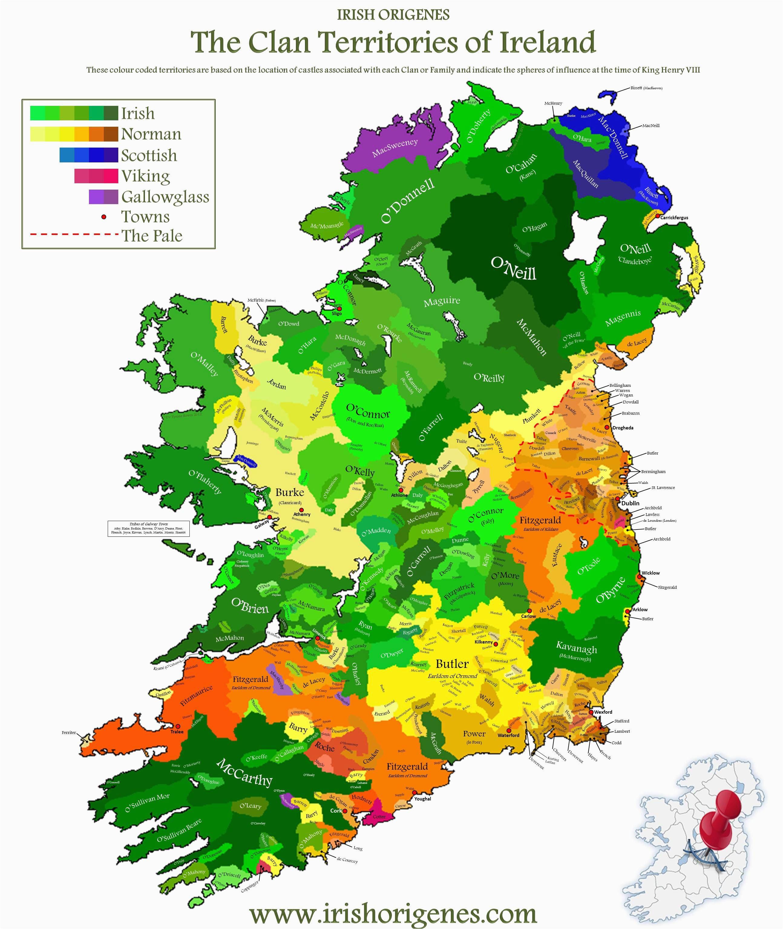 Ireland Lakes Map Clan Map Of Ireland Irish origenes Use Family Tree Dna to