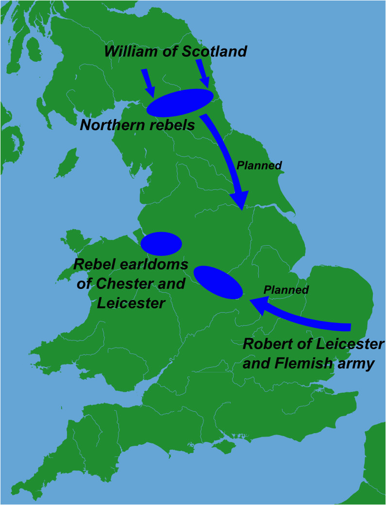 Leicester England Map File Great Revolt England 1173 Png Wikimedia Commons