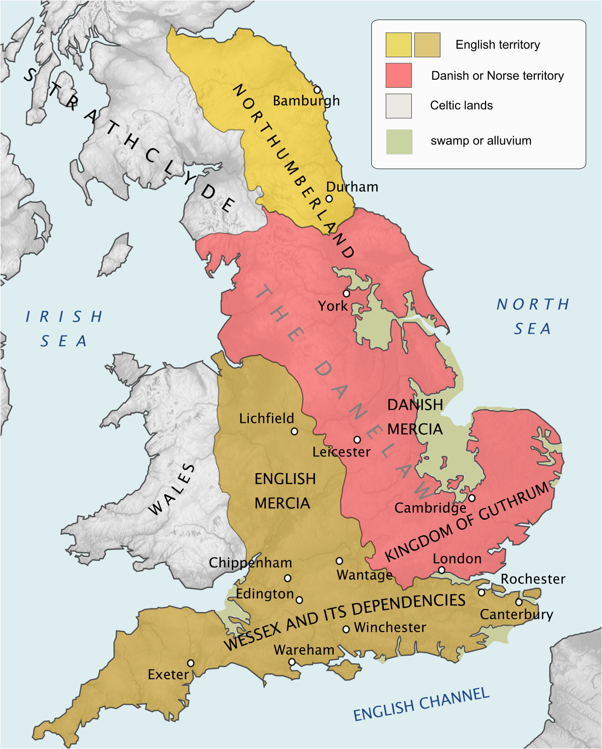 Map Of Ancient Kingdoms Of England Danelaw Wikipedia