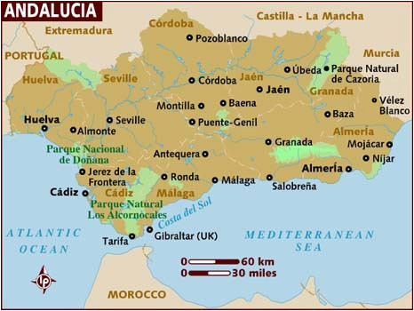 Map Of andalucia southern Spain Map Of andalucia
