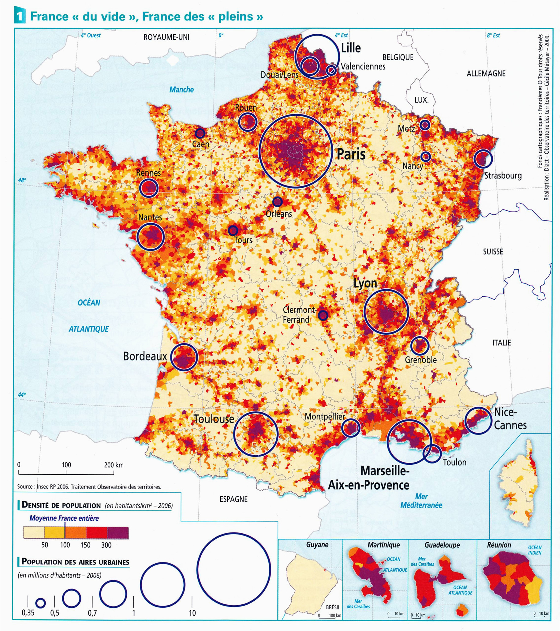 Map Of areas Of France France Population Density and Cities by Cecile Metayer Map