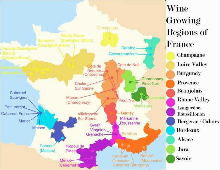 Map Of areas Of France French Wine Growing Regions and An Outline Of the Wines
