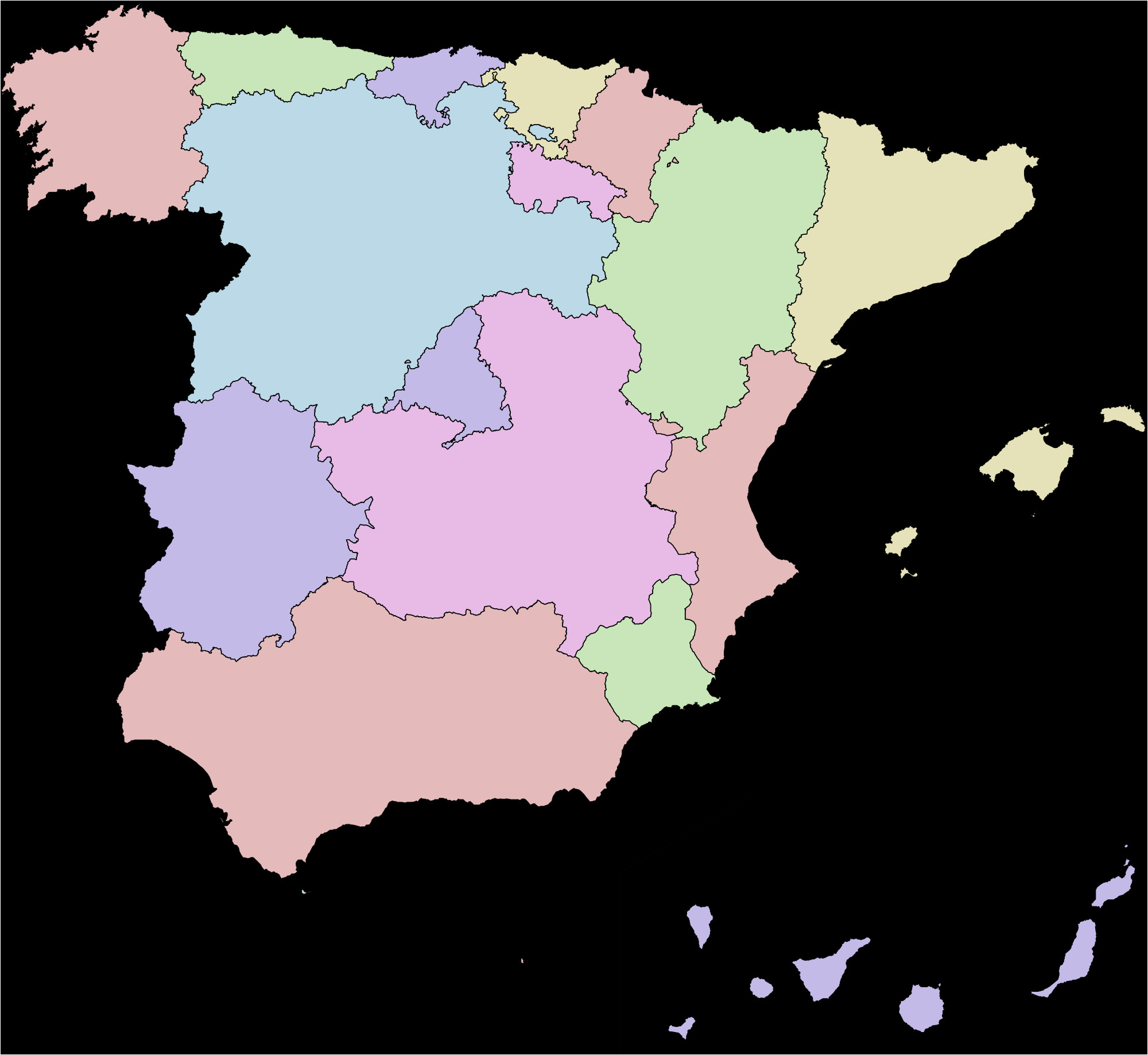 Map Of Balearic islands and Spain Autonomous Communities Of Spain Wikipedia