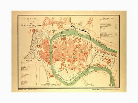 Map Of Besancon France Map Of Besana On France Giclee Print Products Giclee Print Map