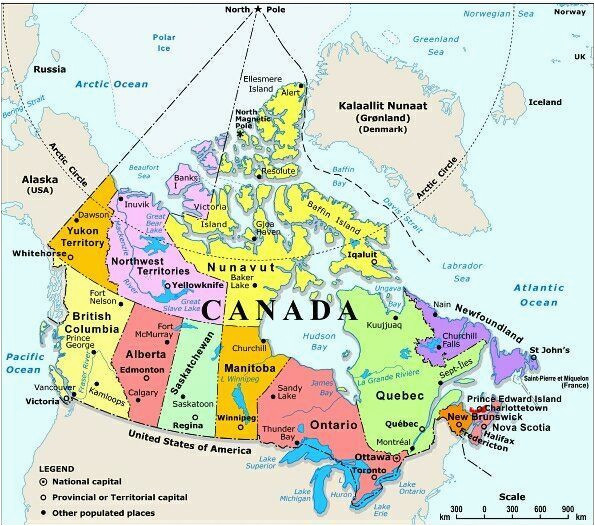 Map Of Capital Cities In Canada Map Of Canada with Capital Cities and Bodies Of Water thats Easy to
