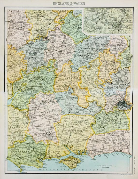 Map Of Central England original Antique Map Central southern England Inc Railway Lines
