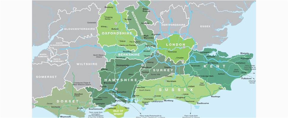 Map Of East Coast Of England Map Of south East England Visit south East England