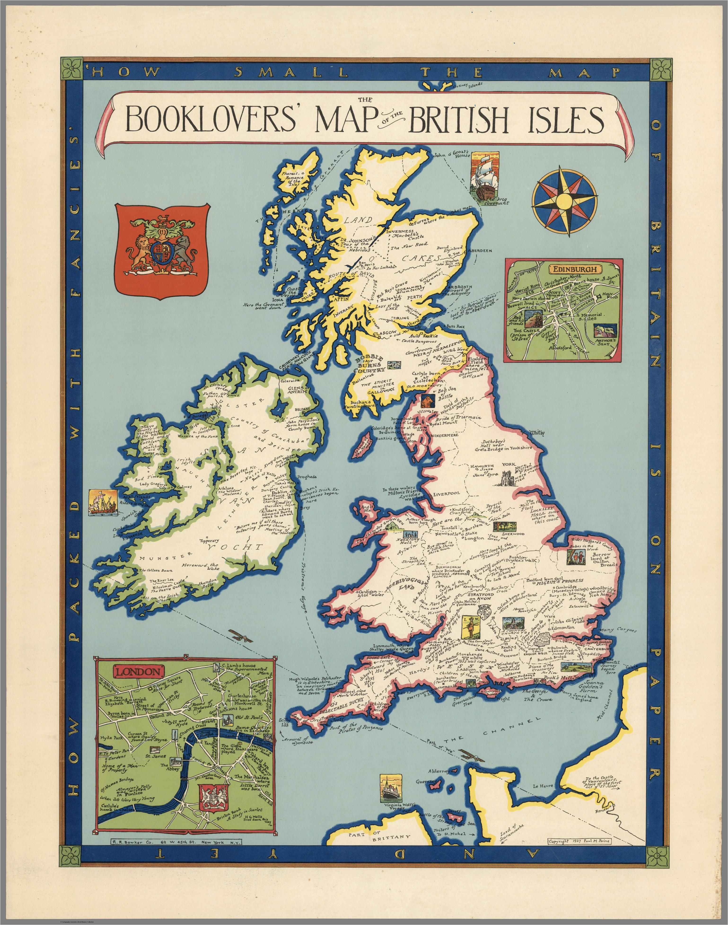 Map Of England Districts the Booklovers Map Of the British isles Paine 1927 Map
