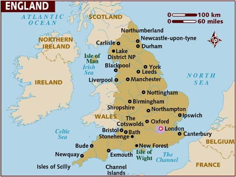 Map Of England Showing London Map Of England