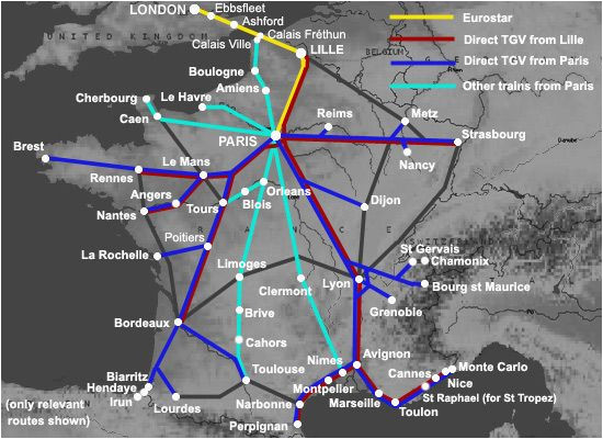 Map Of France Rail System Trains From London to France From A 35 London to Nice Bordeaux
