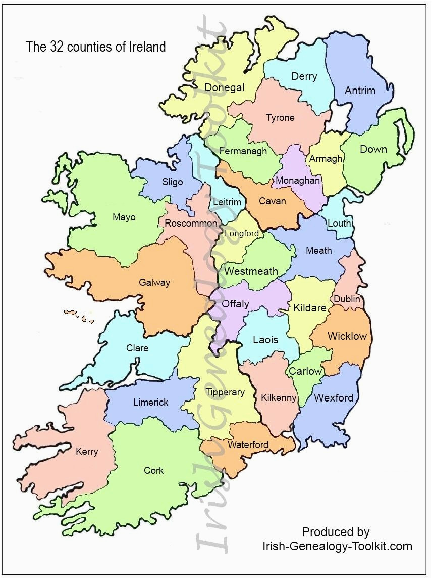 Map Of Ireland 32 Counties Map Of Counties In Ireland This County Map Of Ireland Shows All 32