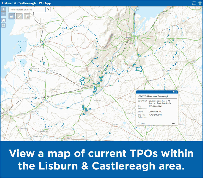 Map Of Lisburn northern Ireland Trees In the Council area Lisburn Castlereagh