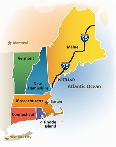 Map Of New England Region Greater Portland Maine Cvb New England Map New England