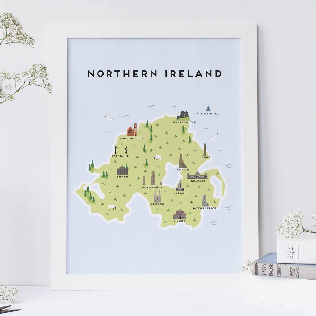 Map Of northen Ireland Map Of northern Ireland Print