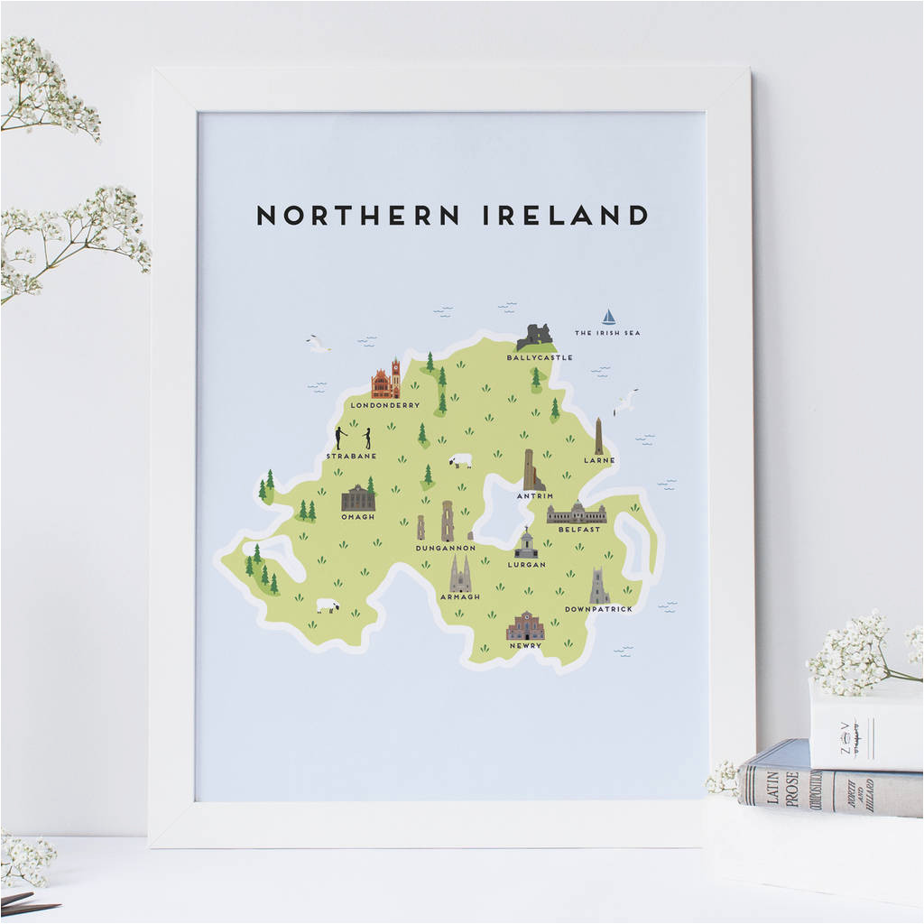 Map Of norther Ireland Map Of northern Ireland Print