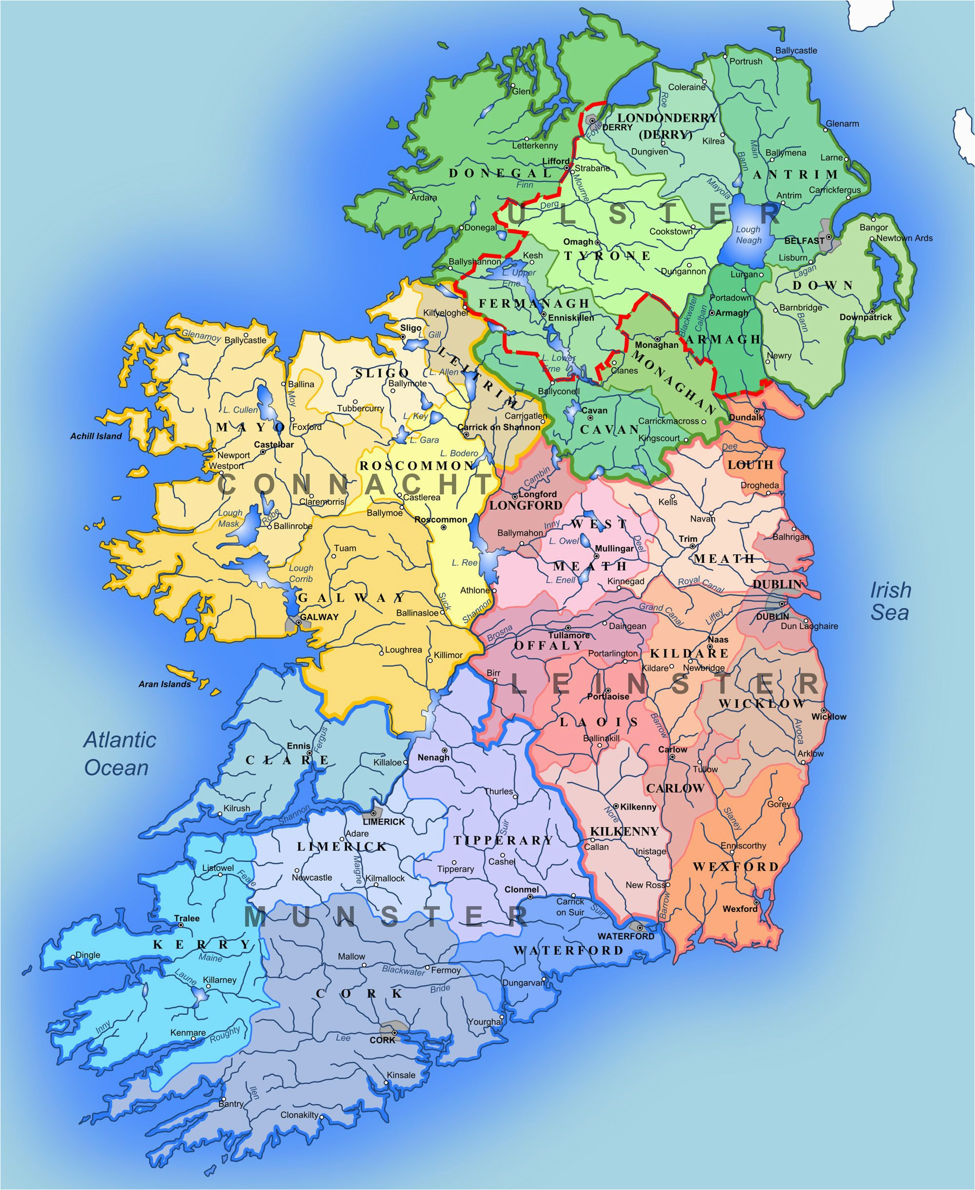 Map Of northern Ireland and Republic Of Ireland Detailed Large Map Of Ireland Administrative Map Of Ireland