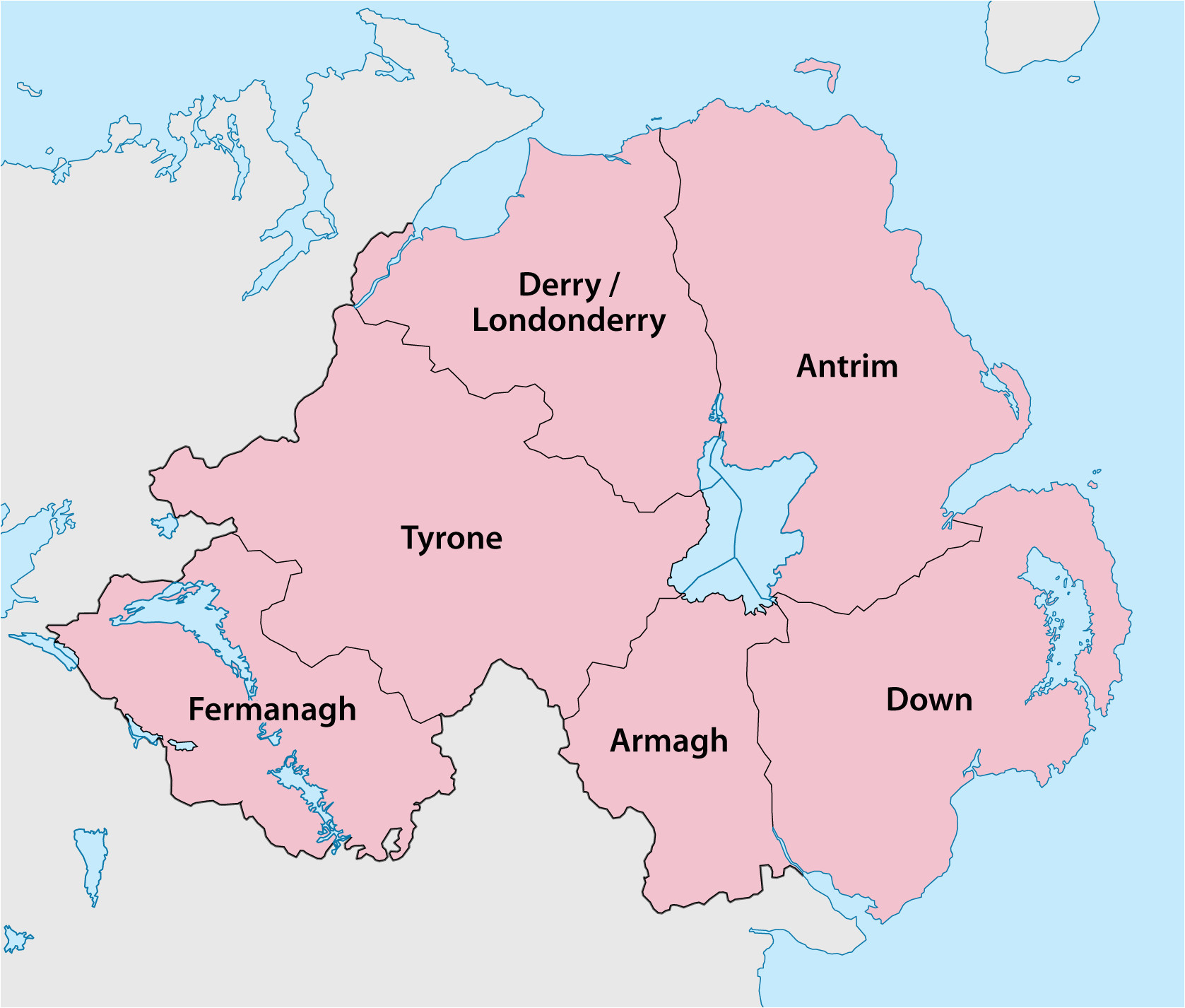 Map Of northern Ireland with towns Counties Of northern Ireland Wikipedia