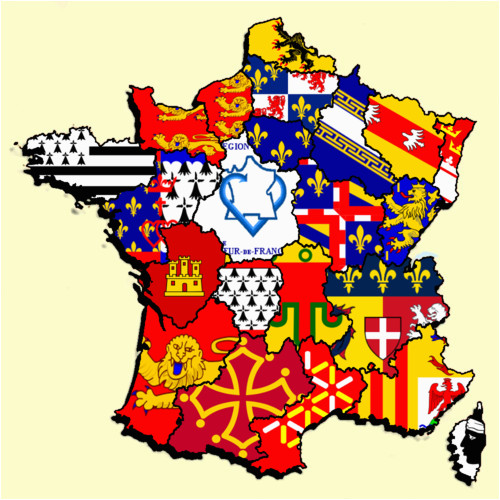 Map Of Provinces Of France French Regions Flag Map by Heersander Heritage France Map