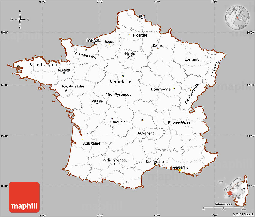 Map Of Rennes France Gray Simple Map Of France Cropped Outside